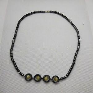 Natural Hematite Bead Circle Necklace